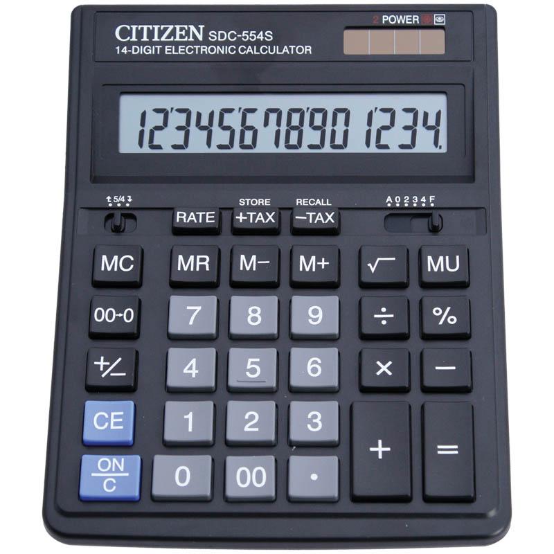 Калькулятор настольный 14 разрядов, двойное питание, 153х199х31мм, черный (SDC) (Citizen)