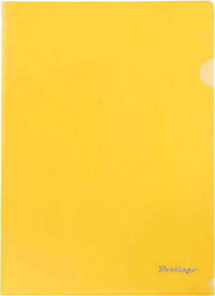 Папка-уголок А4, прозрачная желтая, 180мкм,  20шт/уп (Berlingo)