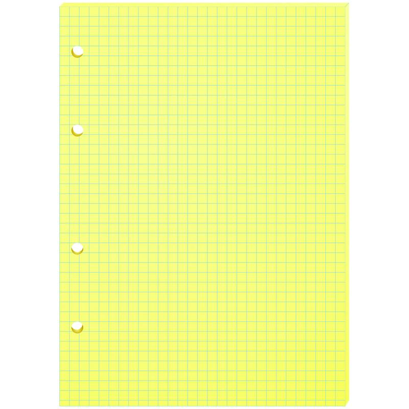 Сменный блок д/тетрадей А5, 80л, желтый, 4 отверстия