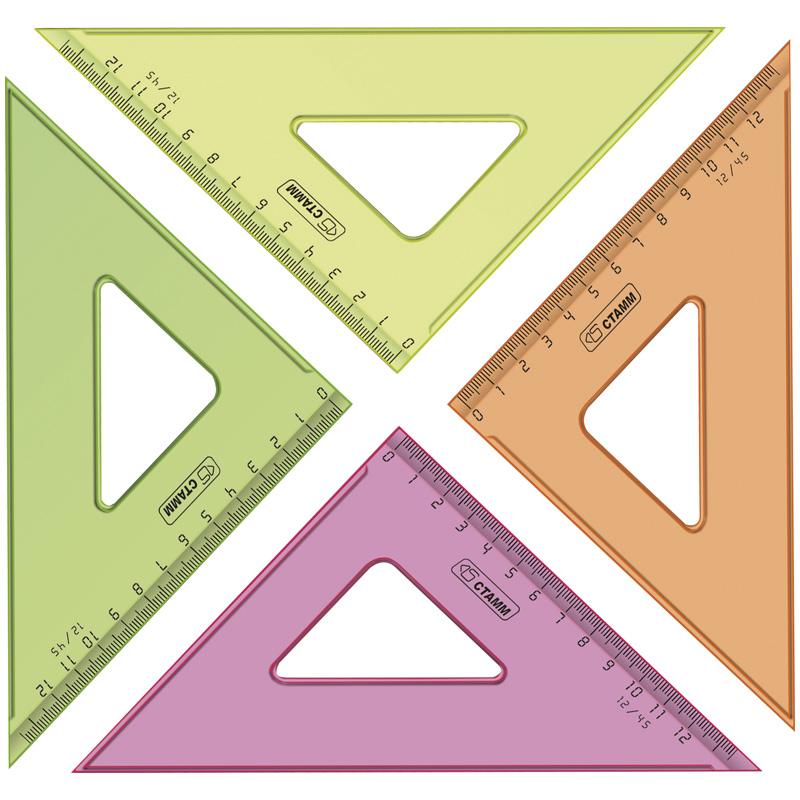 Треугольник 45°, 12см, прозрачный, флуоресцентный, 20шт/спайка (Стамм)