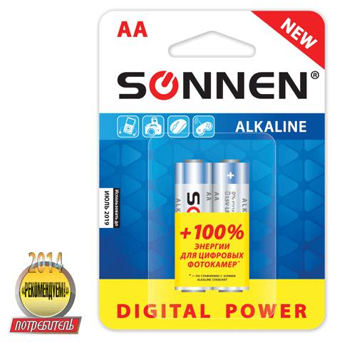 "Батарейка AA (LR6), супералкалин, 1,5В ""Digital Power"" 2шт/уп (SONNEN)"