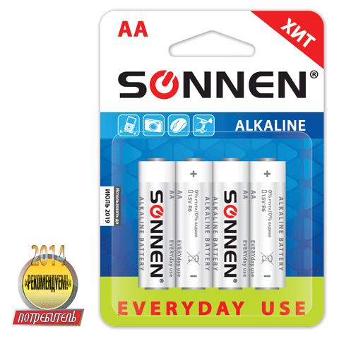 "Батарейка AA (поштучно), LR6, 1,5В ""Everyday use"" 4шт/уп (SONNEN)"