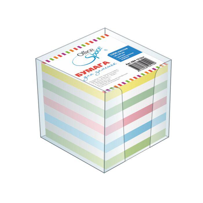 Блок д/записей 9х9х9см цветной, в боксе (162004) 12шт/уп (OfficeSpace)