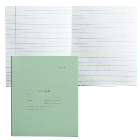 Тетрадь А5, 12л, косая линия, зеленая обложка 420шт/уп (Арх.ЦБК)