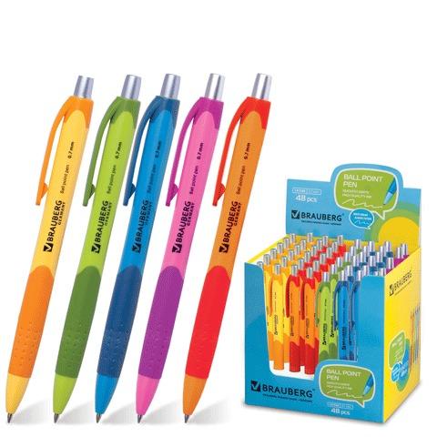 """Ручка шариковая автоматическая синяя, 0,7мм, грип, """"Juicy"""" 48шт/уп (BRAUBERG)"""