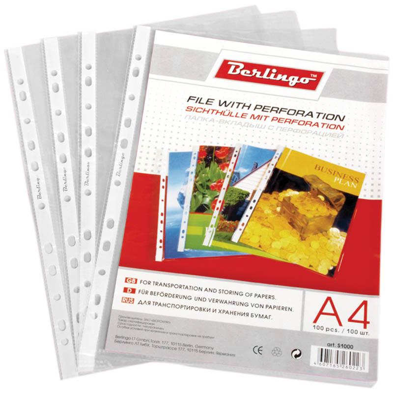 Комплект файлов А4 (100шт), глянцевый, 30мкм (30пач\кор) (Berlingo)