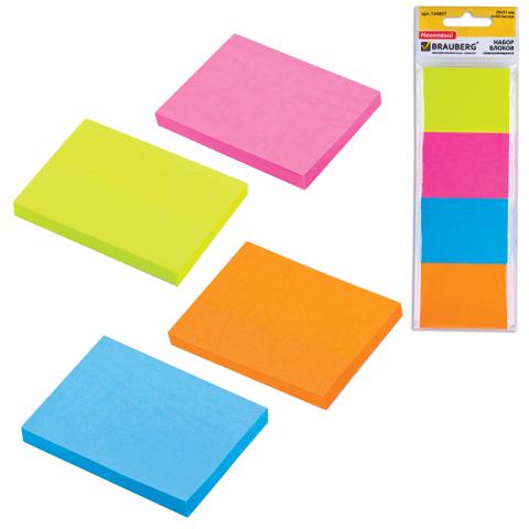 Набор клейкой бумаги д/заметок (4шт) 38х51мм, 4цв.х50л (BRAUBERG)