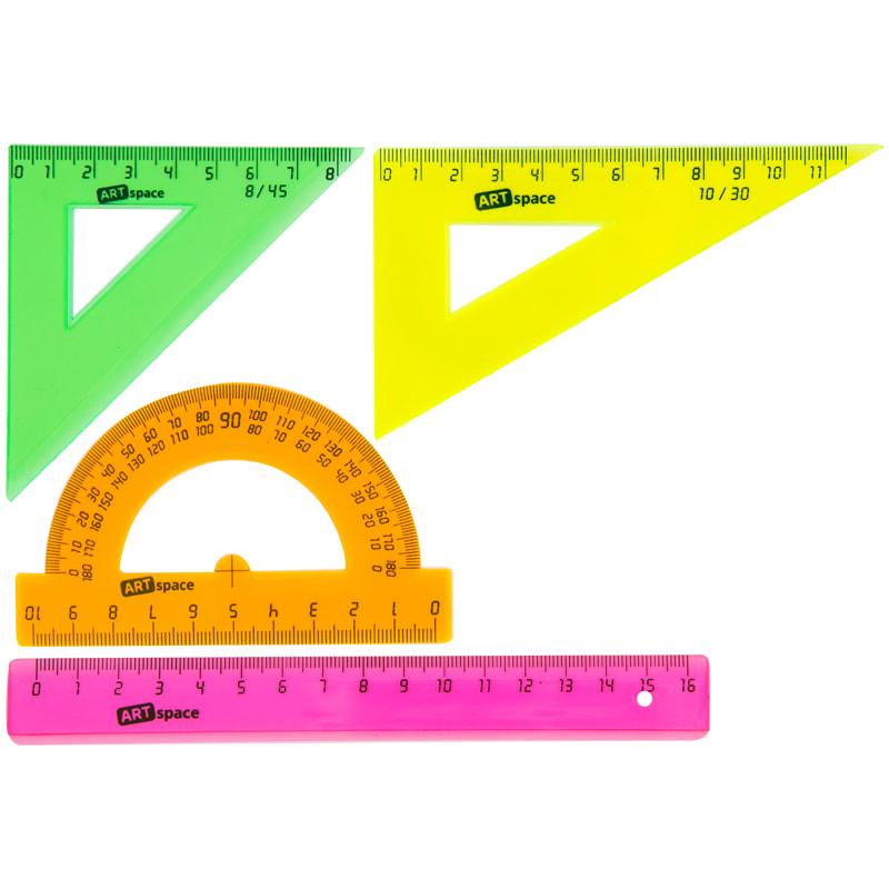 Набор чертежный (линейка, треугольник 2шт, транспортир), флуоресцентный прозрачный (ArtSpace)