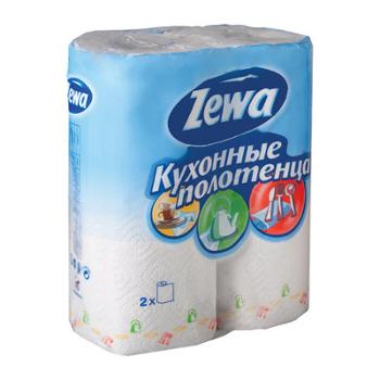 Полотенце бумажное ZEWA (2шт), 2-х слойные, белые (ZEWA)