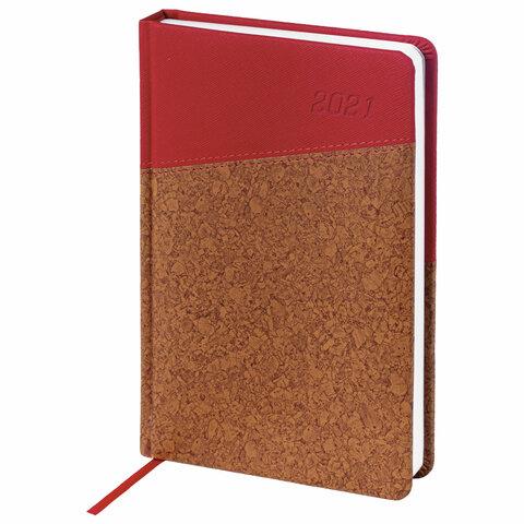 """Ежедневник датированный 2021 А5 (138х213 мм), кожзам, красный/коричневый """"Cork"""" (BRAUBERG)"""