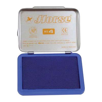 Штемпельная подушка 45х70мм, синяя ,металлическая  №4 (Horse)