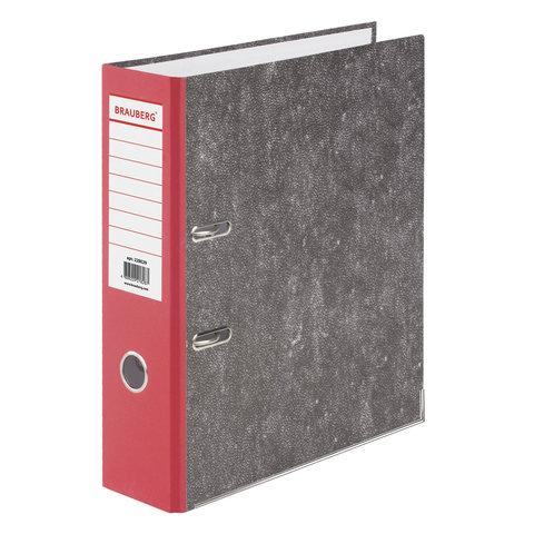Папка-регистратор 80мм, мрамор, красный корешок, карманом на корешке 20шт/уп (BRAUBERG)