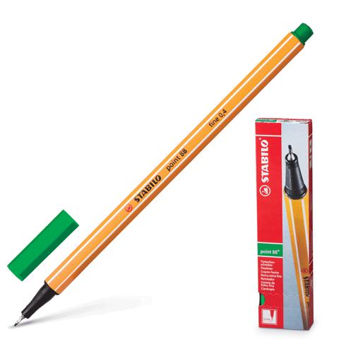 """Ручка капиллярная зеленая, 0,4мм """"Point 88"""" 10шт/уп (Stabilo)"""