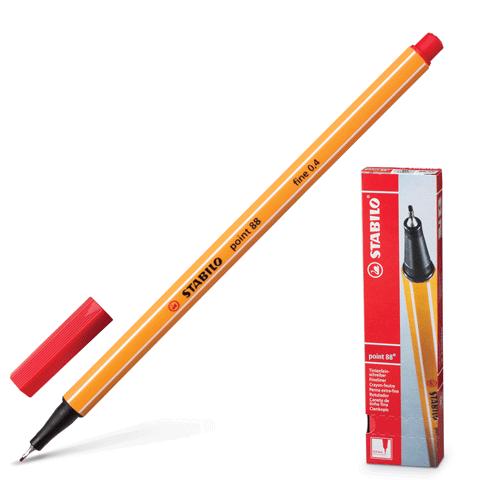 """Ручка капиллярная красная, 0,4мм """"Point 88"""" 10шт/уп (Stabilo)"""