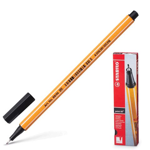 "Ручка капиллярная черная, 0,4мм ""Point 88"" 10шт/уп (Stabilo)"