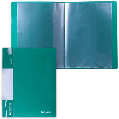"""Папка на 10 файлов, зеленая, карман на корешке, 0,5мм """"Стандарт"""" (BRAUBERG)"""